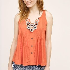 Anthropologie Maeve Orange Pleated Tank